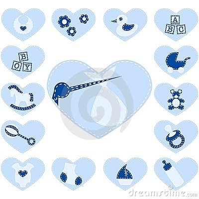 Free Quilted Baby Buttons For A Boy Stock Images - 10028674