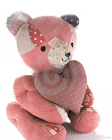 Quilted bear with calico heart