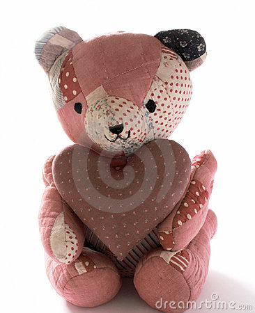 Quilted bear wit calico heart