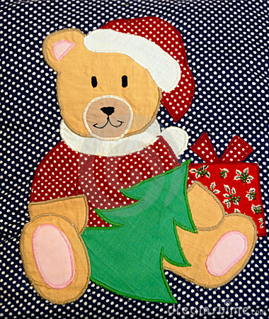Quilted Christmas teddy bear