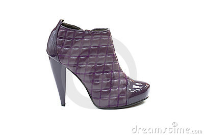 Quilted leather blue shoe with high heel