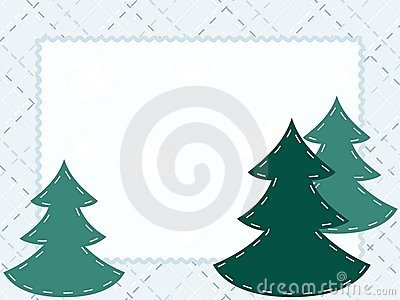 Quilted Winter postcard with evergreens