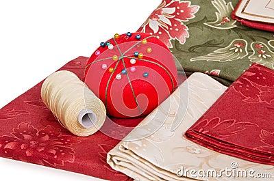 Quilting fabrics and pin cushion