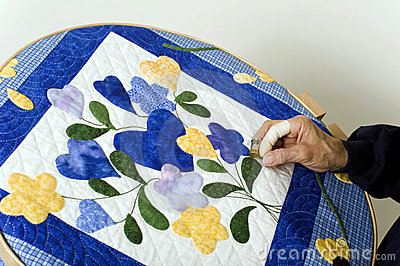 Quilting on hoop