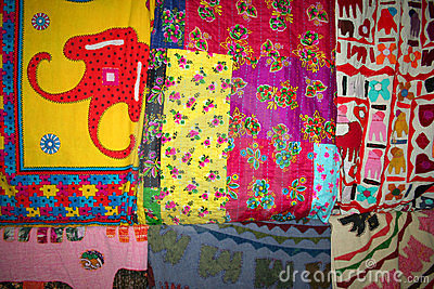 Quilts hanging at bazaar