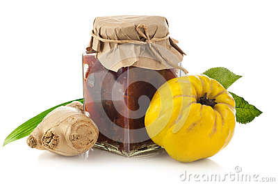 Quince jam with fresh quince fruit and ginger Stock Photo