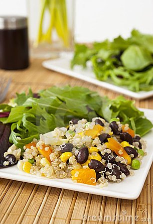 Free Quinoa Salad With Mixed Greens Royalty Free Stock Photography - 23973697