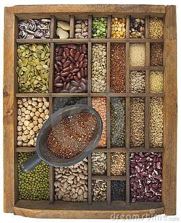 Free Quinoa Scoop And Variety Of Beans, Grain, Seeds Stock Images - 8697484