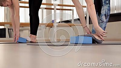 ?quipement de forme physique et d'a?robic Formation d'?quilibre Femmes faisant une classe a?robie avec des grimpeurs d'escalier a banque de vidéos