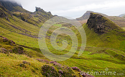 Quiraing mountain range Isle of Skye Scotland, UK.