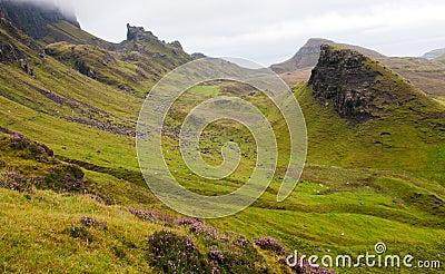 Quiraing mountain range Isle of Skye Scotland, UK.