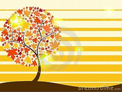 Quirky autumn tree background with Transparencies