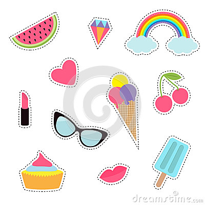Free Quirky Cartoon Sticker Patch Badge Set. Fashion Pin Collection. Lipstick, Heart, Rainbow, Cloud, Cupcake, Diamond, Ice Cream Royalty Free Stock Photo - 77958295