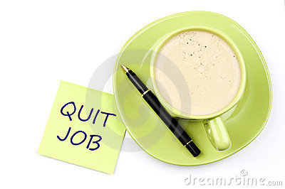 Quit job note and coffee
