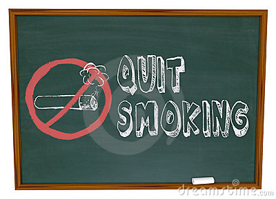 Quit Smoking - Cigarette on Chalkboard