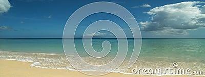 Quite sandy beach. Panorama.