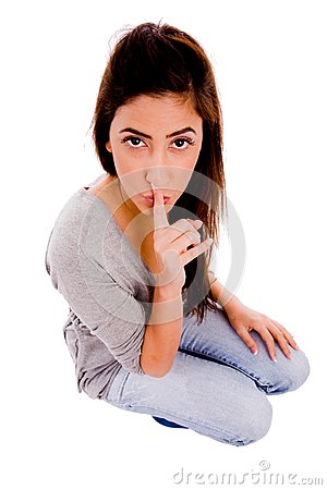 Quite woman instructing to be silent