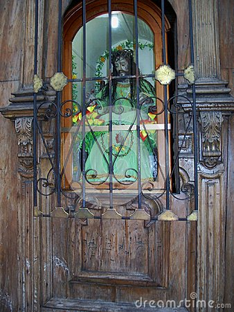 Quito Church Door With Ancient Christ Statue