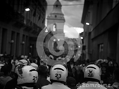 Quito, Ecuador, c. Sep 2015: Police and Protestors in Quito, Ecuador Editorial Stock Photo