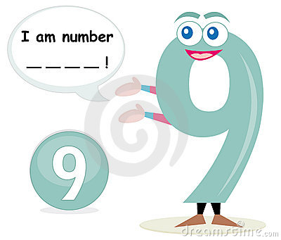 Quiz game with number nine Cartoon Illustration