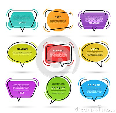 Quote speech bubble, text box, citation frame, colorful message banner isolated on white background. Vector illustration Vector Illustration