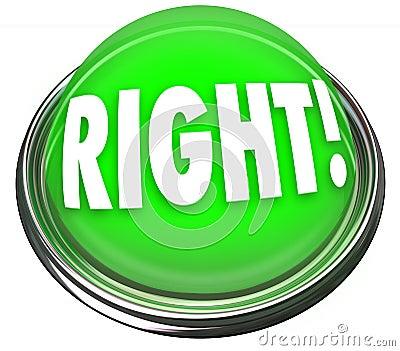 Réponse correcte de clignotant légère de bouton vert droit