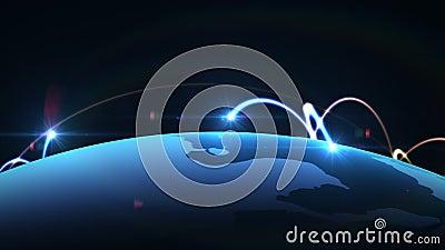 Réseau global, animation de carte du monde