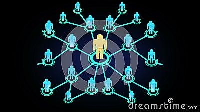 réseau graphique d'animation du mouvement 3D des personnes élevant rapidement dans le media social ou de la communauté avec la ré