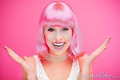 Różowy włosiany dziewczyny śmiać się