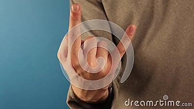 Róg ręki człowieka Symbol przesądnego znaku gestu Komunikacja bez rozmowy zbiory