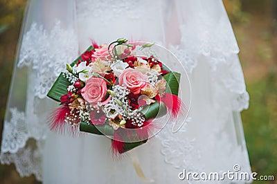 Röd bröllopbukett