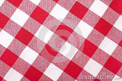 Röd och vittablecloth