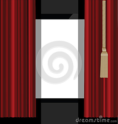 Röda gardiner till teatern arrangerar