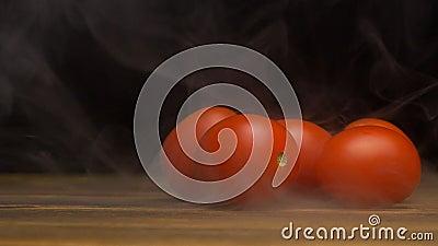 Röda och nya körsbärsröda tomater på en svart bakgrund, som blåser från friskhet och fräckhet, avdunstning, närbild, kopia lager videofilmer