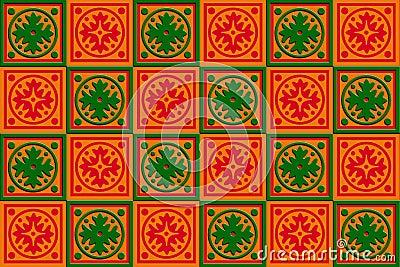 Rött gåvaaskomslag, orange & Green
