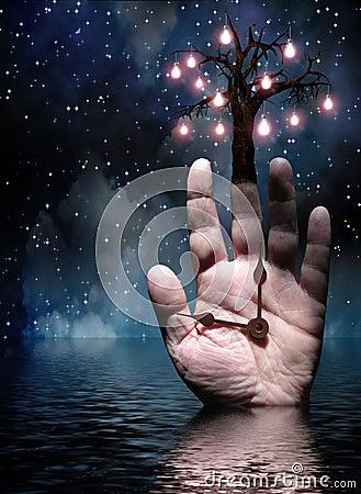 Ręki zaświecają drzewa
