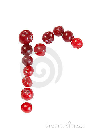 R letter made from cranberry