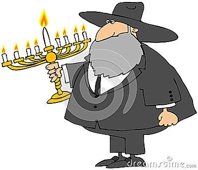 Rabbi Holding a Menorah