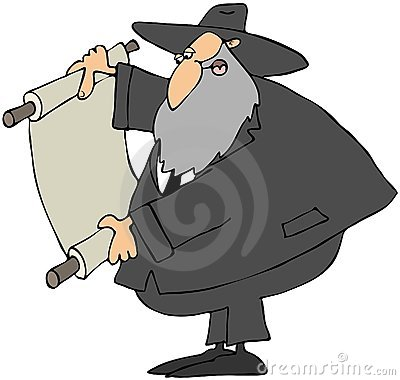Rabbi Reading A Scroll