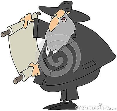 Rabbi Reading A Scroll