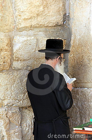 Rabbi at Western Wall, Jerusalem Editorial Image