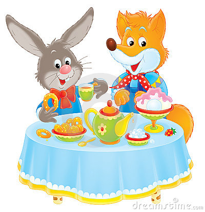 Free Rabbit And Fox At Table Stock Photography - 8098292