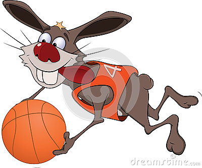 Rabbit the basketball player cartoon