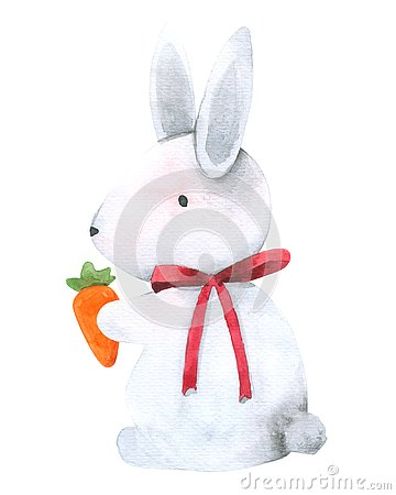 Free Rabbit Bunny Holding Carrot Watercolor Isolated On White Background , Hand Drawn Character For Kids, Greeting Card , Cases Design, Royalty Free Stock Photo - 126488715