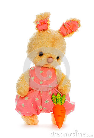 Rabbit bunny toy with carrot isolated in hand