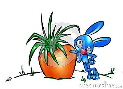 Rabbit and carrot  big harvest cartoon