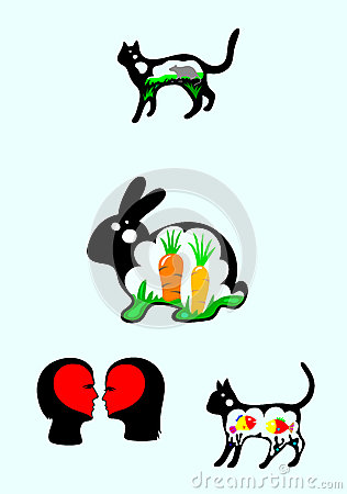 Rabbit and cat silhouette