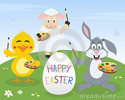 Rabbit, Chick & Lamb Easter Painters