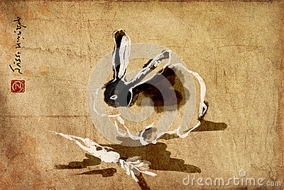 Rabbit chinese brush painting, sumie
