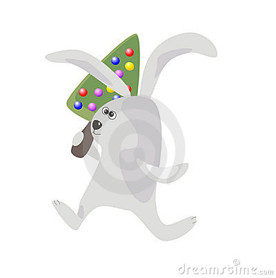 Rabbit with a Christmas -tree